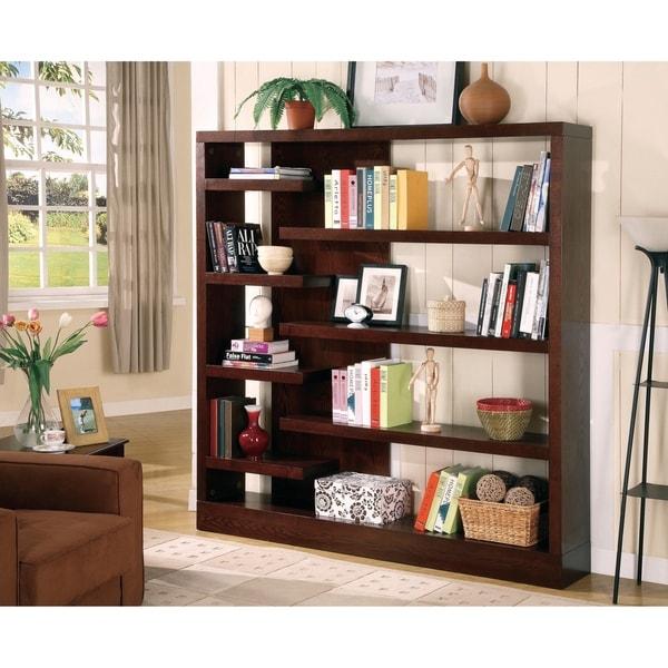 Shop Casual Cappuccino 8 Shelf Asymmetrical Bookcase On