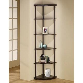 Cappuccino 5-shelf Corner Bookcase