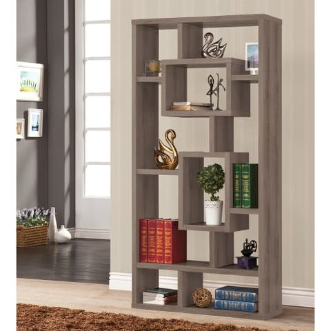 Contemporary Weathered Grey 10-shelf Bookcase