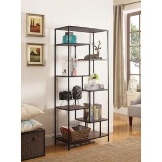 Industrial Walnut and Black 7-shelf Bookcase