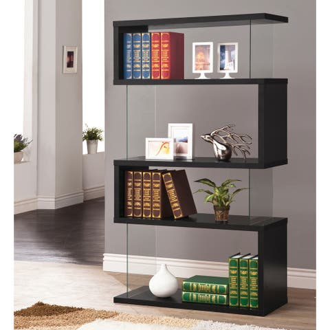 Casual Black 4-shelf Bookcase