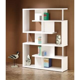 Transitional White 10-shelf Bookcase