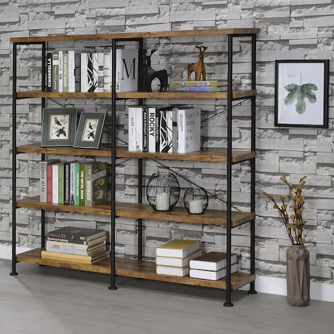 "Barritt Industrial Antique Nutmeg Double-wide Bookcase - 60"" x 14.25"" x 63"""