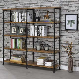 "Barritt Industrial Antique Nutmeg Double-wide Bookcase - 60"" x 14.25"" x 63"""