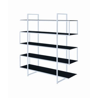 Contemporary Silver Metal and Glass 5-shelf Bookcase