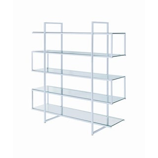 Contemporary Silver Metal and Glass 5-shelf Bookcase (Clear)