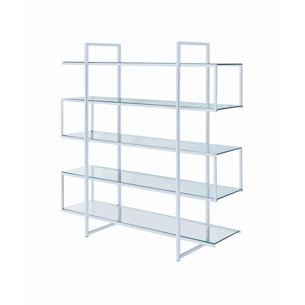 Shop Contemporary Silver Metal And Glass 5-shelf Bookcase