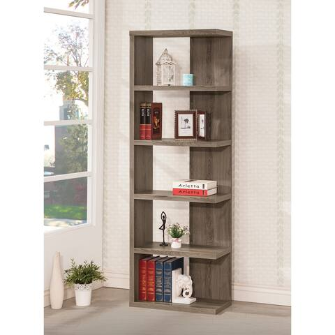 Porch & Den Conkling Weathered Grey Wood 5-shelf Bookcase