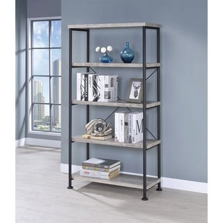 Guthrie Industrial Grey Driftwood 4-shelf Bookcase