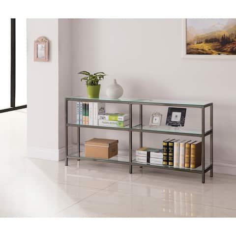 Contemporary Black Nickel 2-tier Double Bookcase