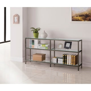 Contemporary Black Nickel 2-tier Double Bookcase