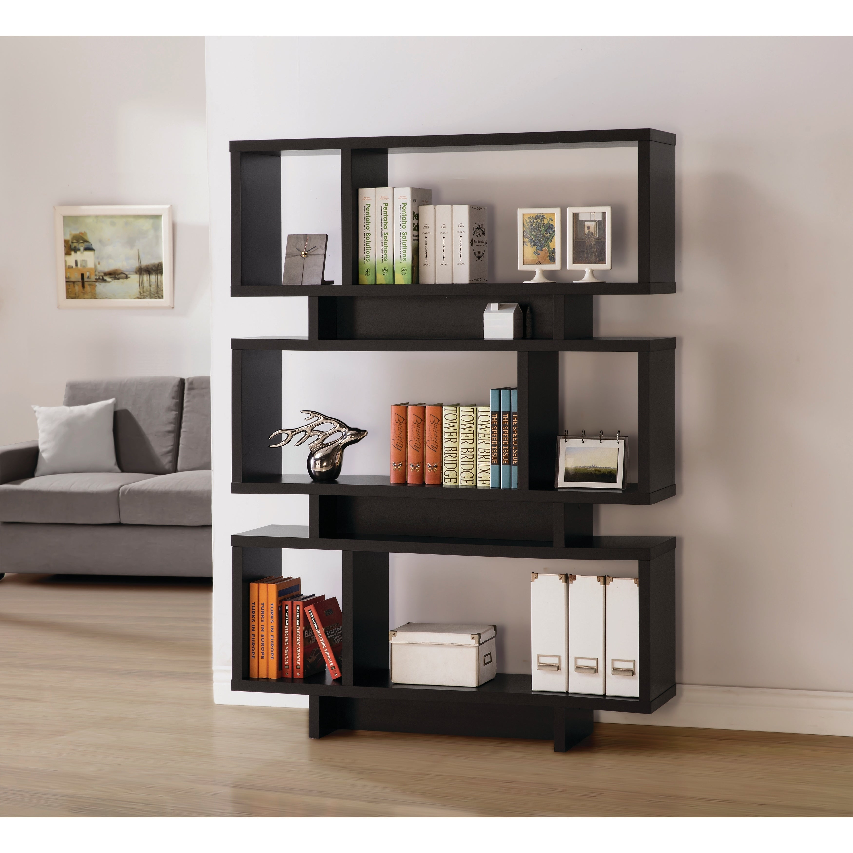 Contemporary 6 Shelf Geometric Bookcase 47 25 X 11 50 X 65 75
