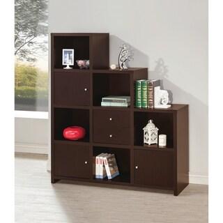 Contemporary Cappuccino Wood 5-shelf Bookcase