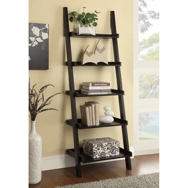 Transitional Cappuccino 5-shelf Bookcase. Opens flyout.