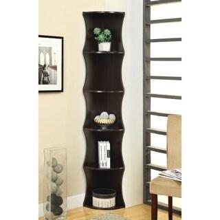Casual Cappuccino 5-shelf Corner Bookcase