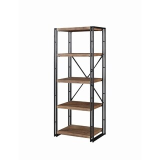 Rustic Weathered Chestnut 4-shelf Narrow Bookcase