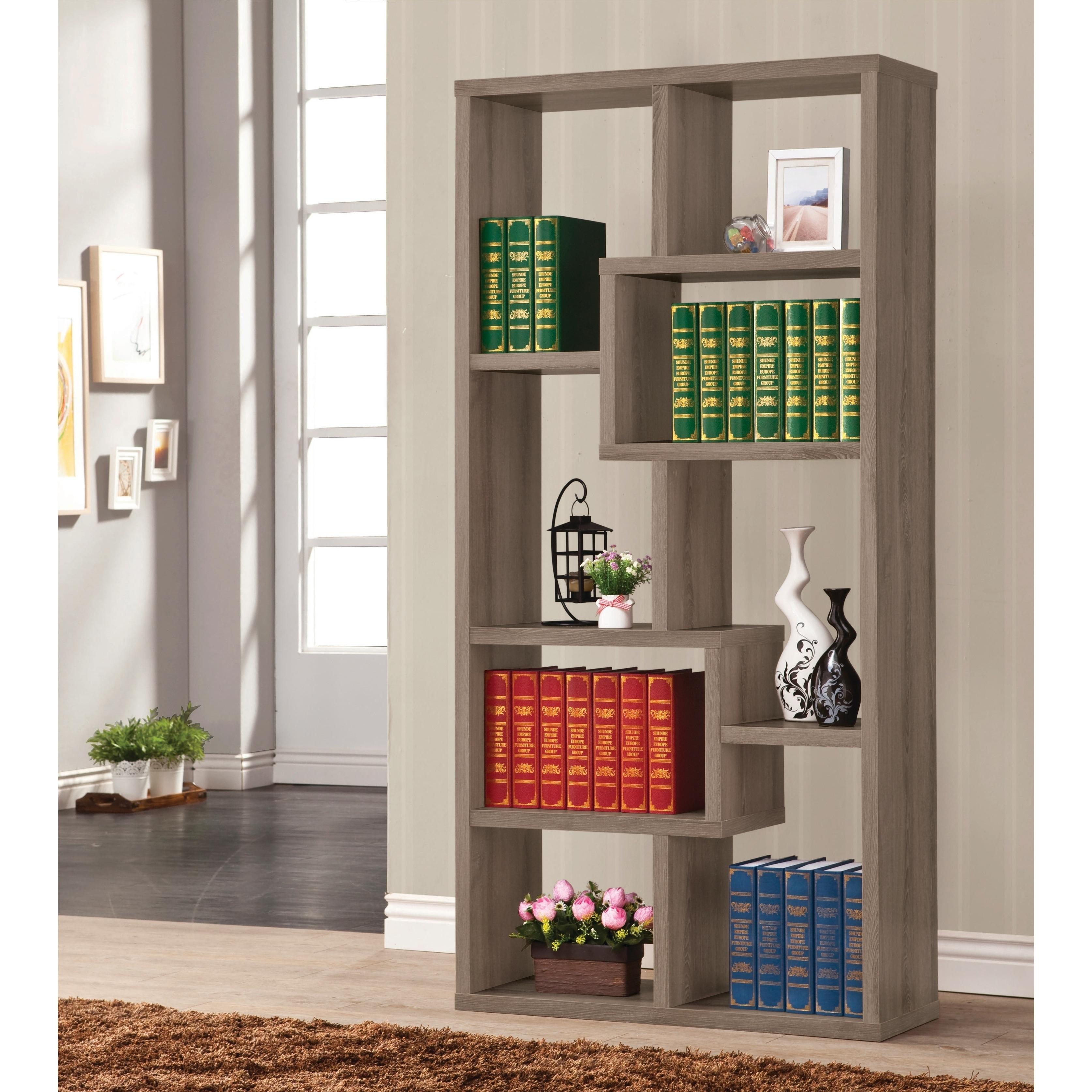 Contemporary Weathered Grey 8-shelf Bookcase