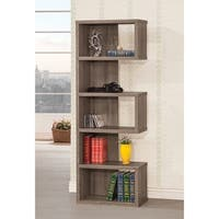 Contemporary Weathered Grey 5-shelf Bookcase