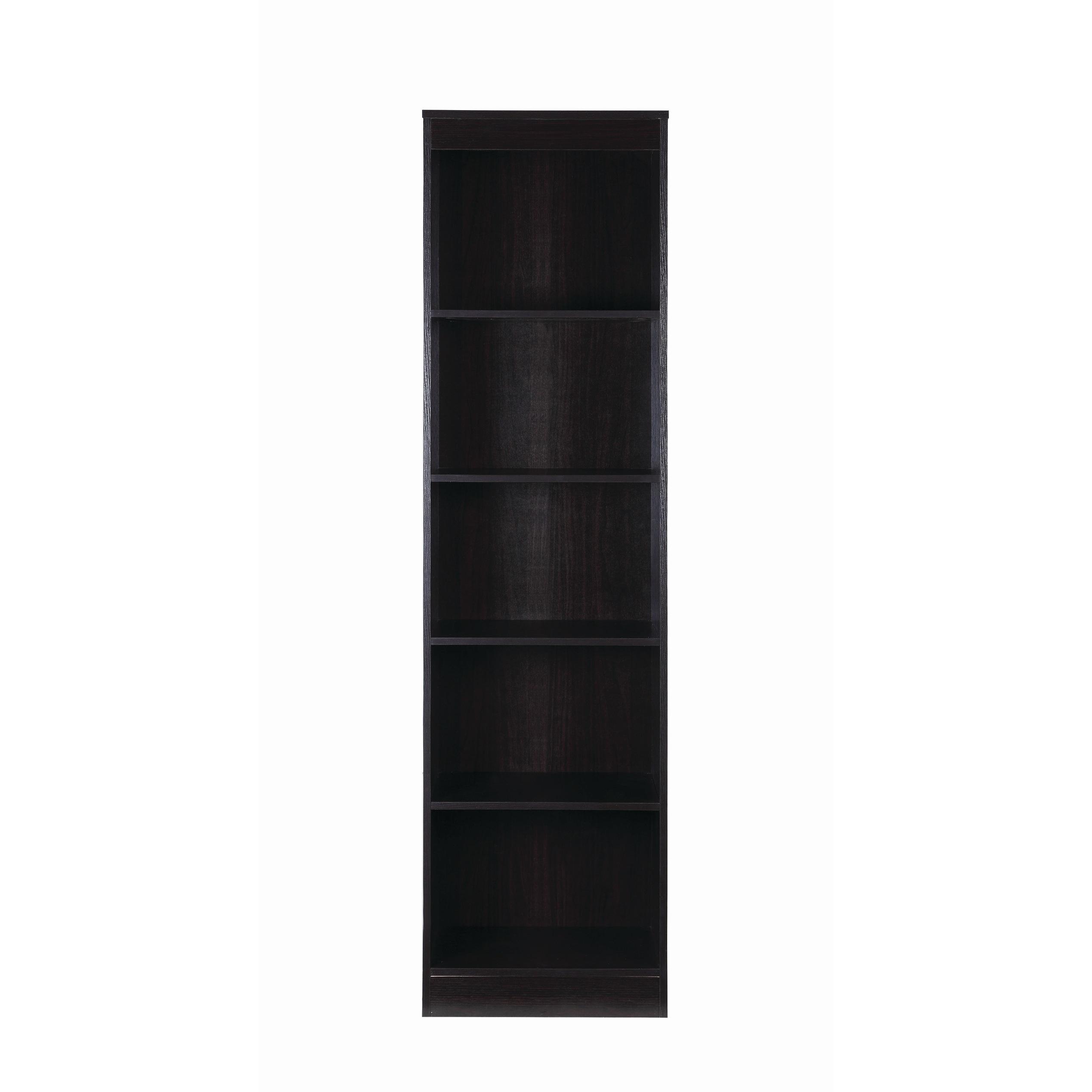 Transitional 5 Shelf Narrow Bookcase