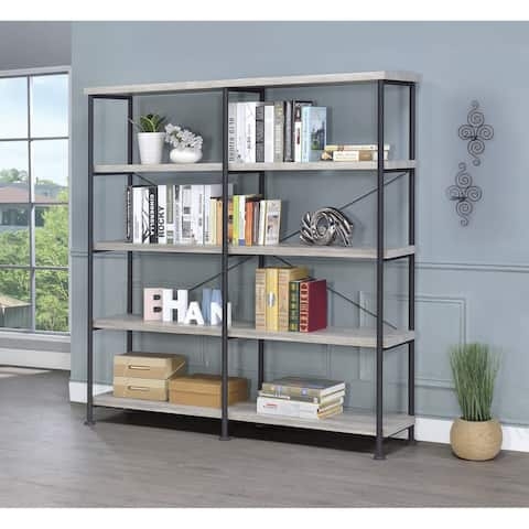Guthrie Industrial Grey Driftwood 4-tier Bookcase