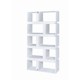 Contemporary 10-shelf Geometric Bookcase (2 options available)