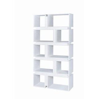 Contemporary 10-shelf Geometric Bookcase