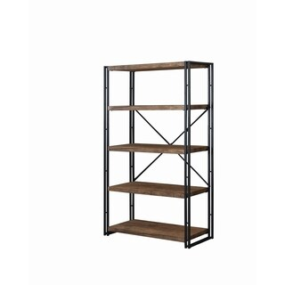 Rustic Weathered Chestnut 4-shelf Wide Bookcase