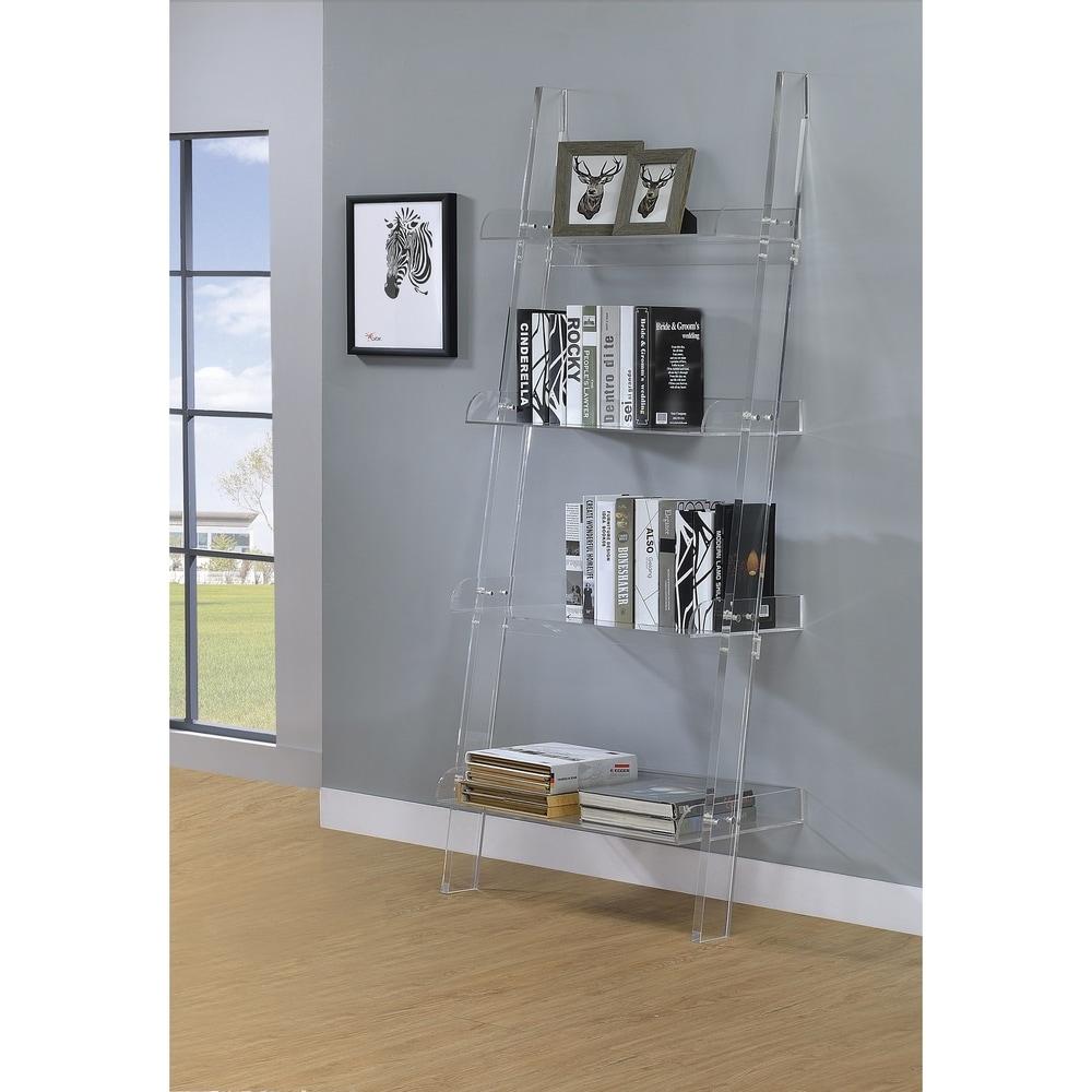 "Amaturo Clear Acrylic 4-shelf Ladder Bookcase - 24.50"" x 18"" x 72.25"". Opens flyout."