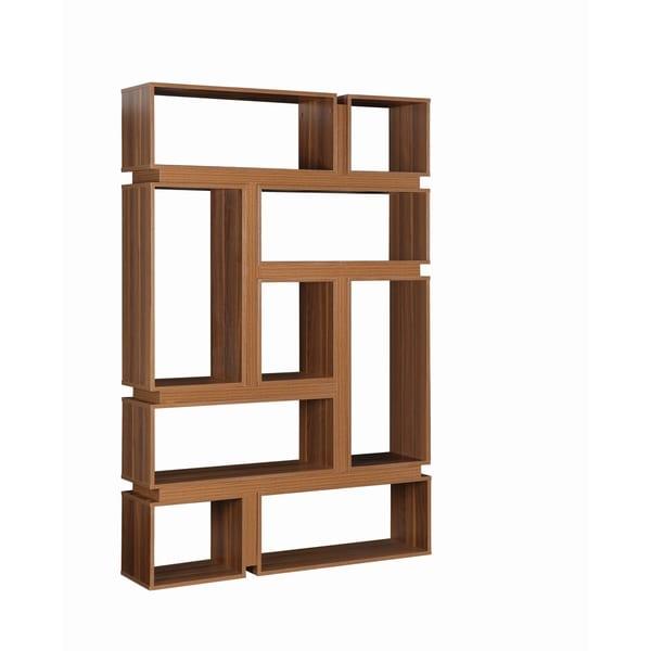Modern Light Walnut 9 Shelf Geometric Bookcase