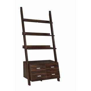 Palm Canyon Chirezza Transitional Dark Walnut Ladder Bookcase with Drawer Storage
