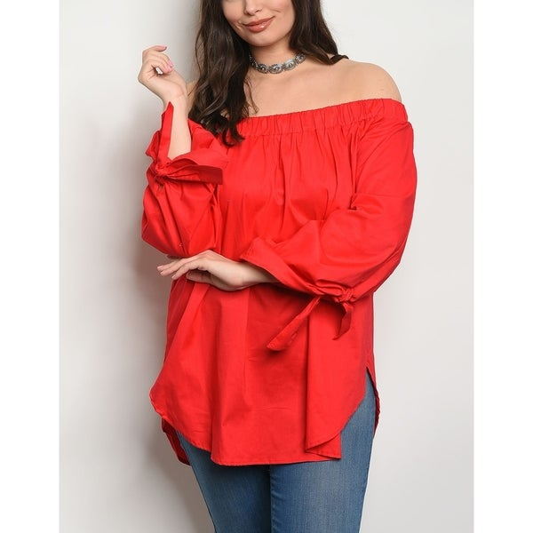 JED Women's Cotton Poplin Off Shoulder Tunic Top