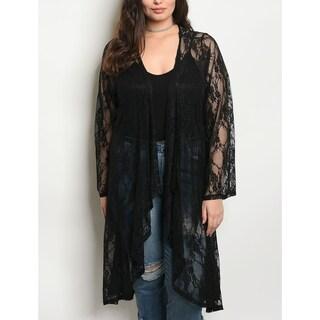 JED Women's Plus Size Black Lace Kimono Cardigan