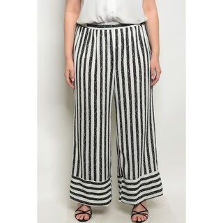 JED Women's Plus Size Stripes Elastic Waist Palazzo Pants