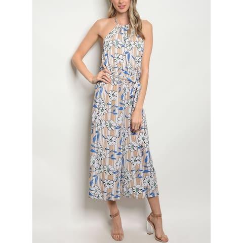 JED Women's Halter Floral Jumpsuit with Waist Tie