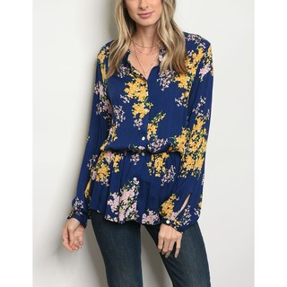 JED Women's Smocked Waist Long Sleeve Printed Shirt (Option: Floral Print - s)