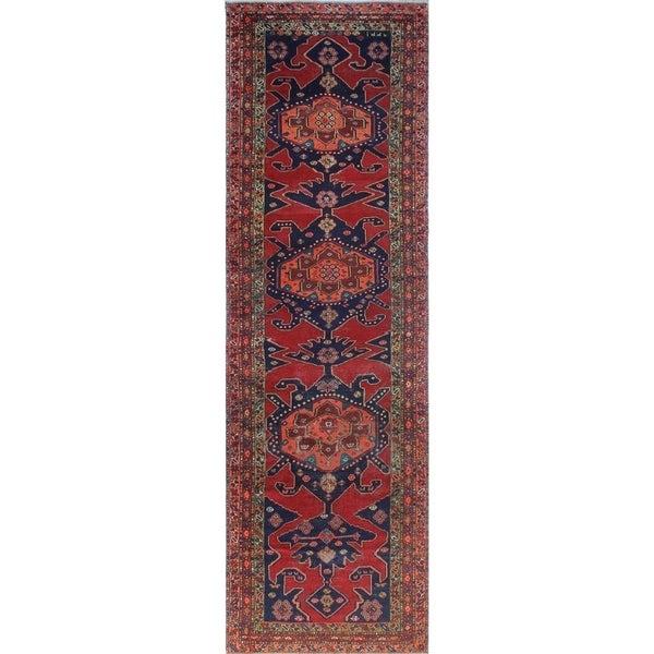 Noori Rug Semi Antique Sherazi Mahvash Red Blue Runner 4 X27