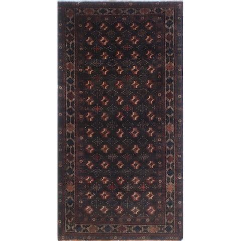 Noori Rug Semi-Antique Bokara Meshia Chocolate/Brown Runner - 3'8 x 7'3