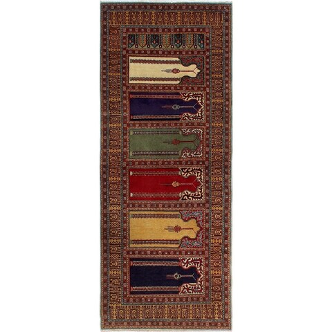 Noori Rug Semi-Antique Heriz Manee Red/Gold Runner - 2'9 x 6'11