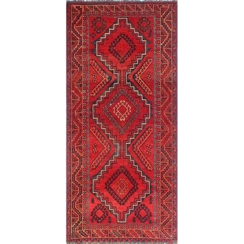 Noori Rug Semi-Antique Sherazi Neshat Red/Blue Runner - 4'6 x 9'7