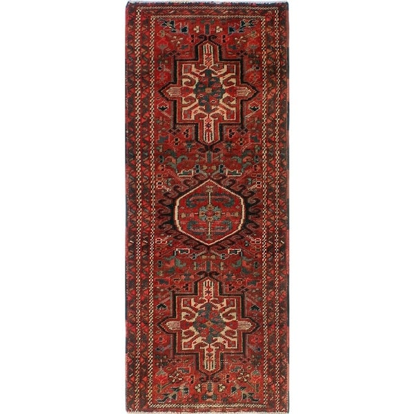 Noori Rug Semi-Antique Heriz Mahnaz Red/Blue Rug - 1'11 x 4'10