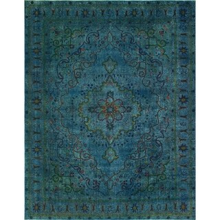 Vintage Distressed Overdyed Justin Blue/Green Rug (9'6 x 12'6)