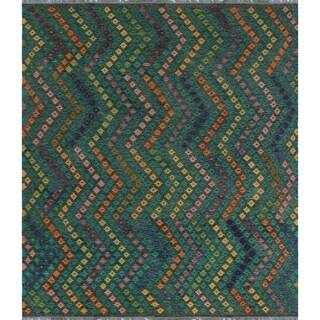 Sangat Kilim Kosoko Brown/Orange Wool Rug - 8'6 x 9'8