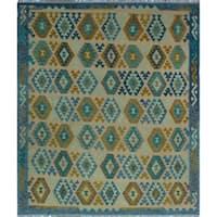 Noori Rug Handmade Sebastian Blue/Ivory Wool Sangat Kilim Rug (8'2 x 9'10)