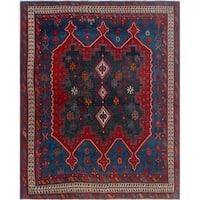 Noori Rug Semi-Antique Cocasian Ghamzeh Blue/Red Rug - 4'10 x 5'11