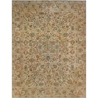 Noori Rug Vintage Distressed Overdyed Lauren Beige/Green Rug - 9'7 x 12'10