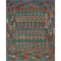 Noori Rug Handmade Sangat Elliot Brown/Red Wool Kilim Rug (10'1 x 13')
