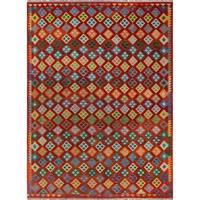 Noori Rug Sangat Kilim Poppy Red/Green Rug - 8'2 x 11'3