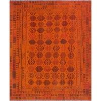 Noori Rug Overdyed Kilim Noah Orange/Burgundy Rug - 9'8 x 11'11
