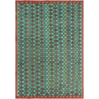 Sangat Kilim Ayobami Green/Rust Rug (6'7 x 9'7)