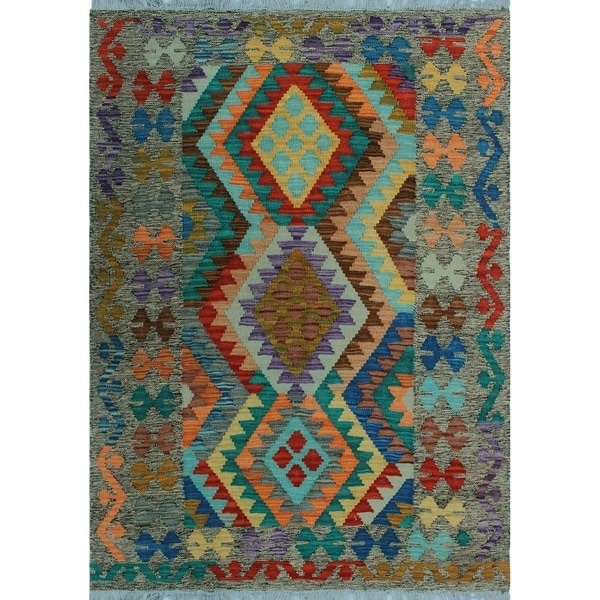 Shop Noori Rug Sangat Kilim Zesiro Green/Purple Rug